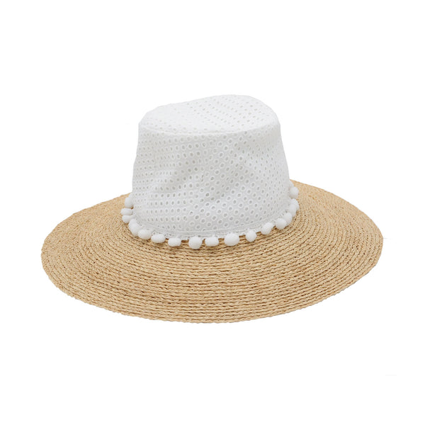 Henley Eyelet Cotton and Raffia Sun Hat by Genevieve Rose Atelier