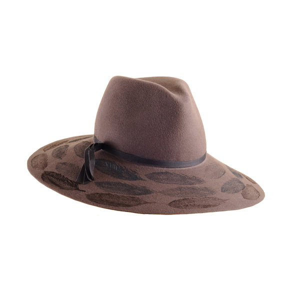Custom Large Mink-Color Felt Floppy Fedora with Feather Print by Genevieve Rose Atelier