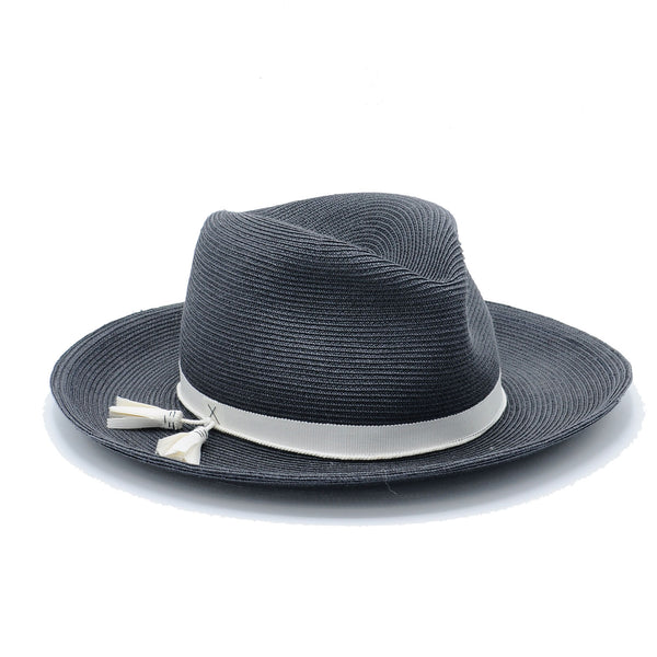 Sellick Grey Straw Fedora by Genevieve Rose Atelier