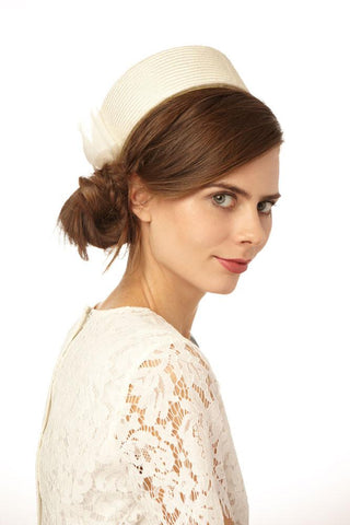 Jackie O Bridal Pillbox with Bow by Genevieve Rose Atelier
