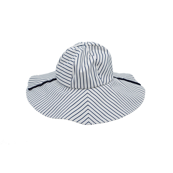 Large Stripe Cotton Sunhat by Genevieve Rose Atelier
