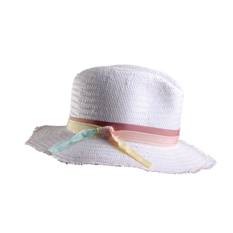 White Straw Beach Fedora with Multi Ribbon Trim by Genevieve Rose Atelier