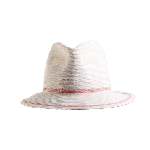 White packable fedora pink stripe by Genevieve Rose Atelier