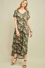 Load image into Gallery viewer, CAMO SHORT SLEEVE MAXI DRESS