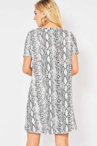 GRAY SNAKESKIN SWING DRESS