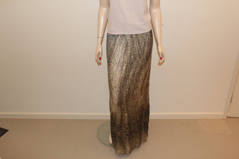 Shonajoy Gold & White Patterned Maxi Skirt  Sz 12