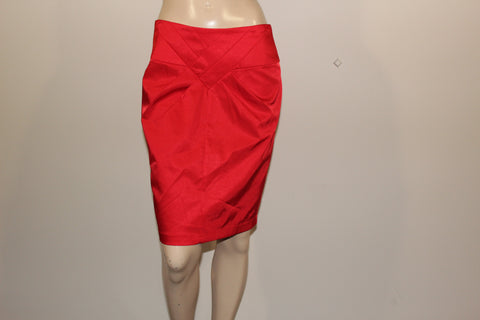TEMT Red Satin Skirt Sz 12