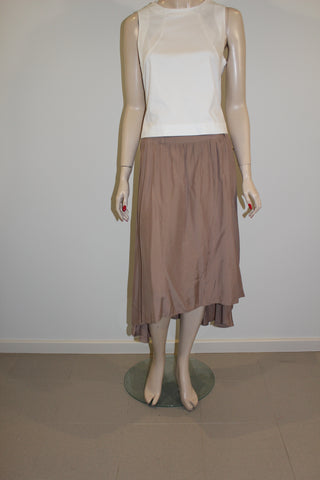 Target 100% Viscose Light Brown Hi-Lo Skirt Sz 12