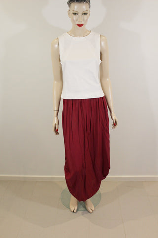 TEMT Maroon Maxi Skirt with Side Tuck 100% Viscose Sz 8/10 NWT