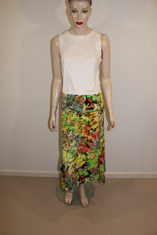 VIVID Green Floral Print Stretch Skirt  Sz 14