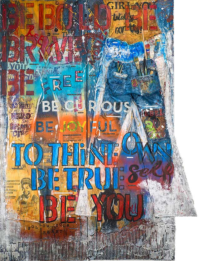 """Rebel Girl Jeans Diptych"" - Two 60""x20"" (60""x40"" Total Size) Original Mixed Media"