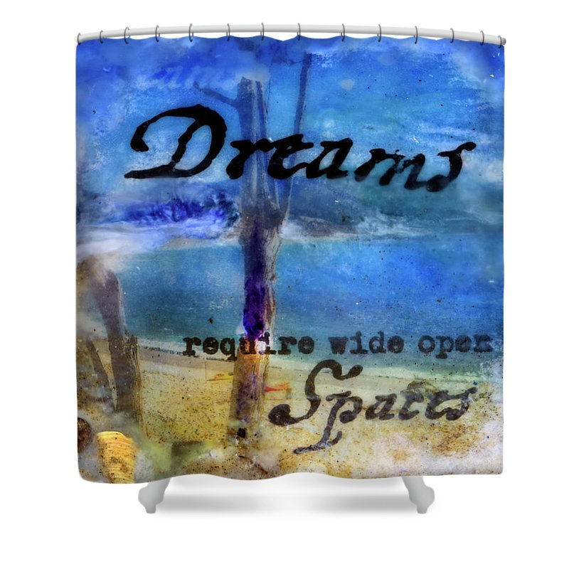 Sea Echoes Series V6  Dreams Require Wide Open Spaces Encaustic Mixed Media - Shower Curtain