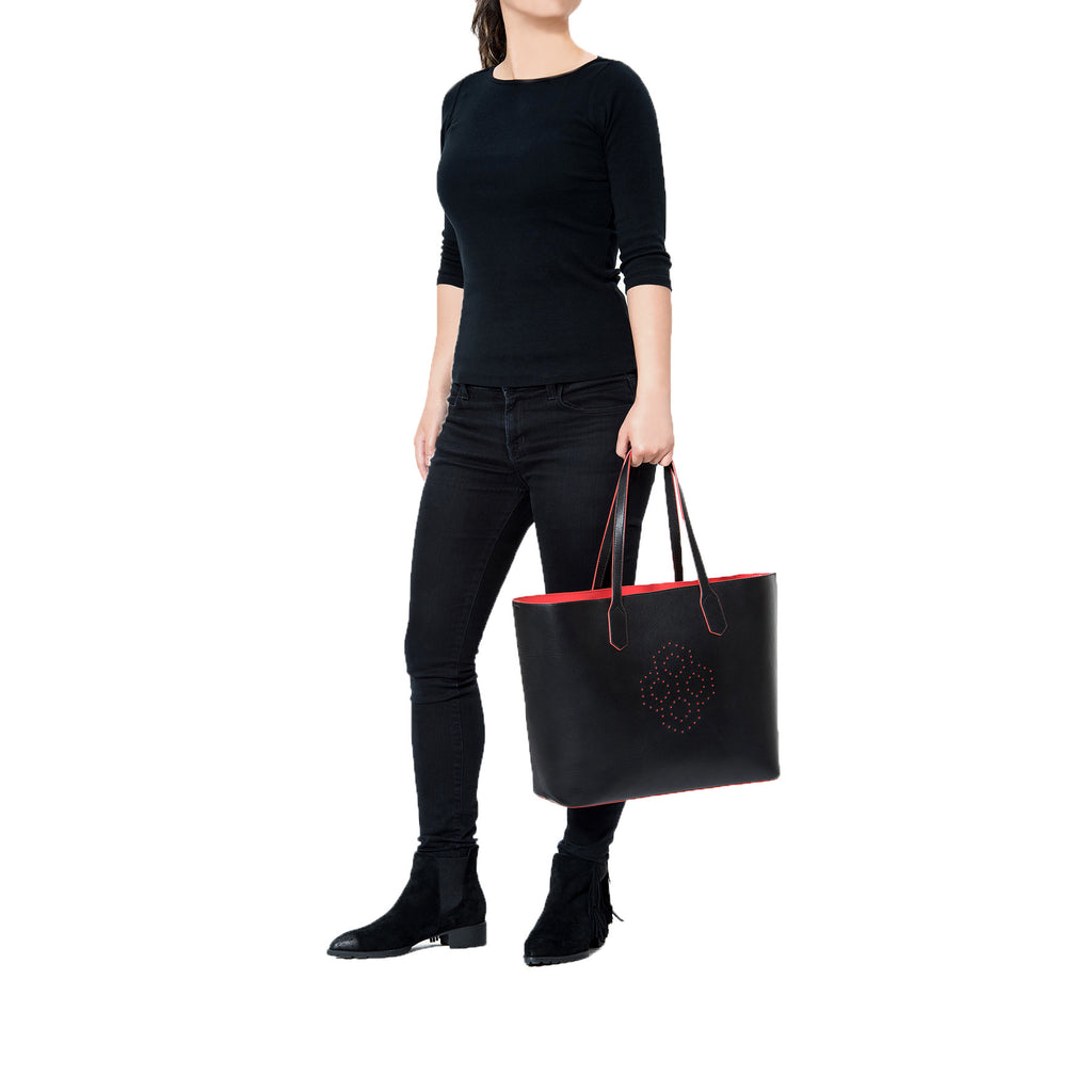 MISCHA Monogram Tote - Black (model shot)