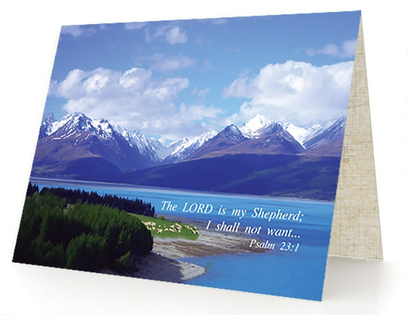 Bible Cards & Bookmarks - The Lord Is My Shepherd - Box Of 10 Cards And 10 Envelopes