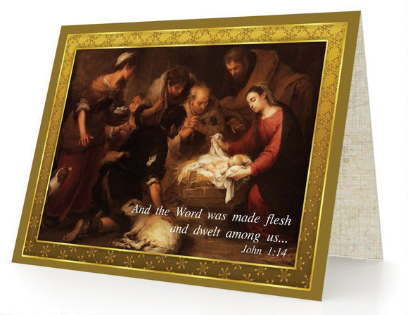Bible Cards & Bookmarks - The Word (Jesus) Became Flesh - Box Of 10 Cards And 10 Envelopes