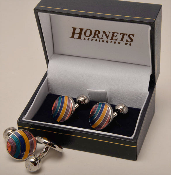 Rainbow cufflinks in enamel