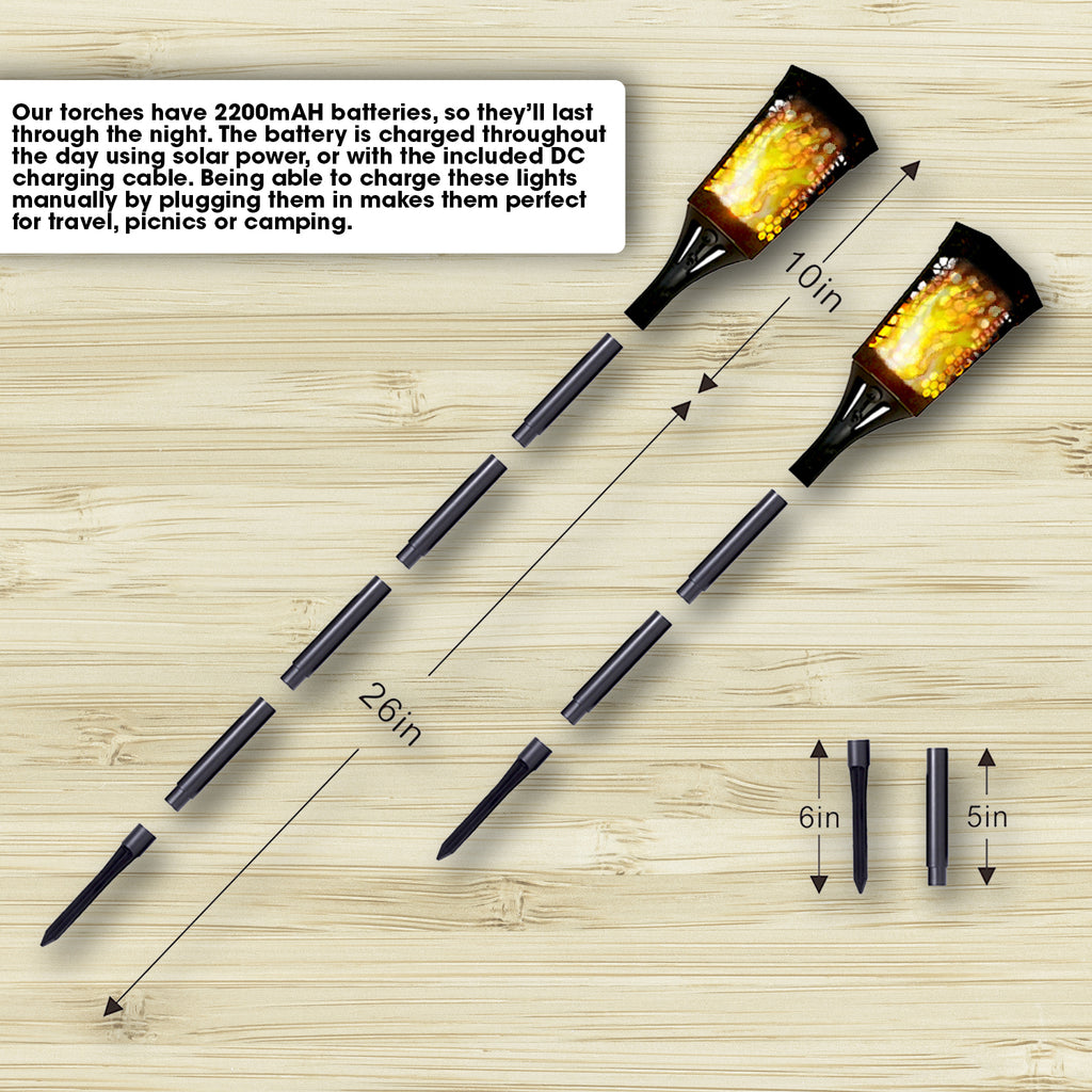 YYB0180-4pc - Solar Torch Landscaping Light Kit 4 Pack