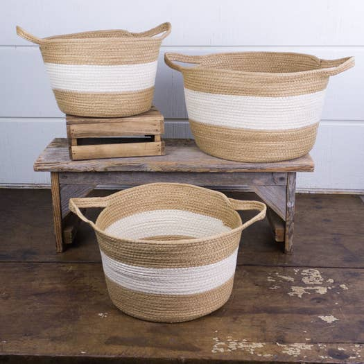Tan/Cream Round Stitched Basket With Handle Set (3) - AboutRuby.com