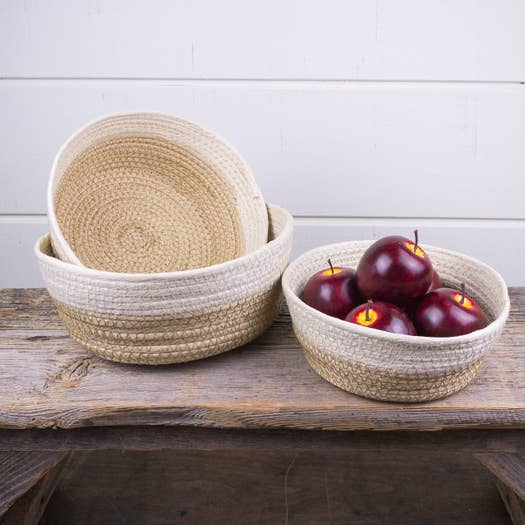 Tan/Cream Stitched Bowl/ Basket Set of 3 - AboutRuby.com