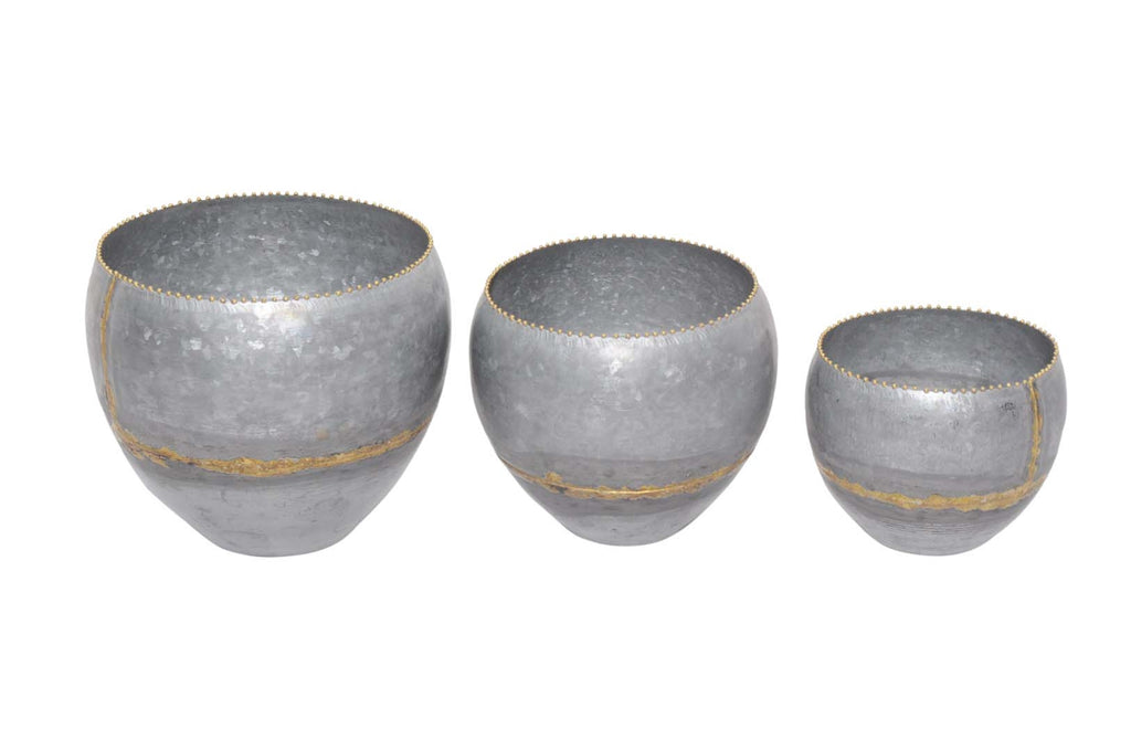 Galvanized Iron Pots W/Brass Welds - Set Of 3 - AboutRuby.com