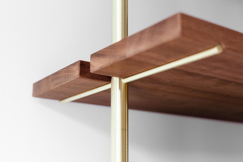 Sapele Wood Shelves with Brass Rails (2 Sections) - AboutRuby.com