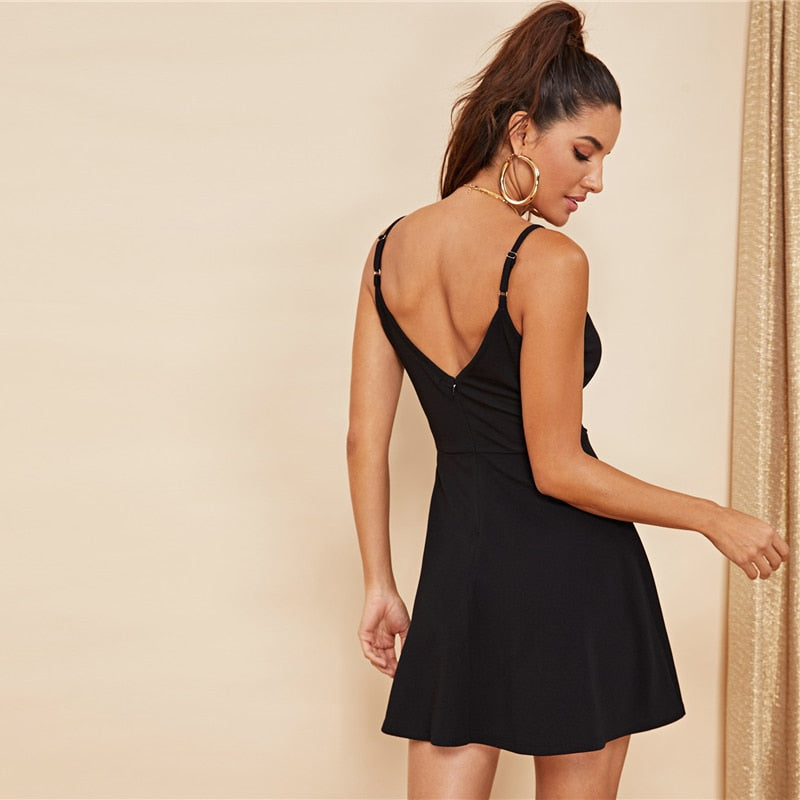 plunge wrap mini dress in black