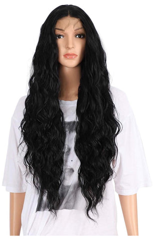 "SYN Collection | Synthetic Hair Lace Unit | Black Wavy 26"" Middle Part"