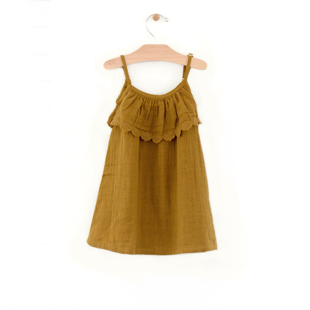 Muslin frill tank dress - bronze