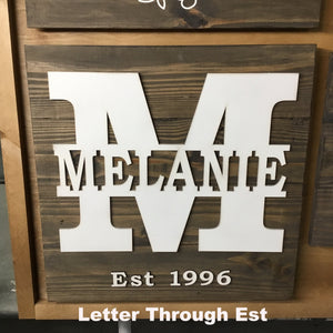 Monogram Sign Options - 1 x 6 4 Board