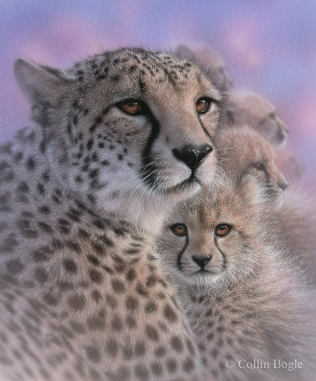 Cheetah mother and cubs painting art print.