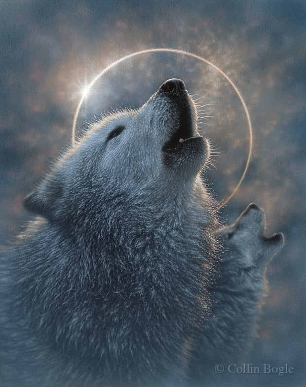 Howling wolves with a full moon eclipse painting art print.