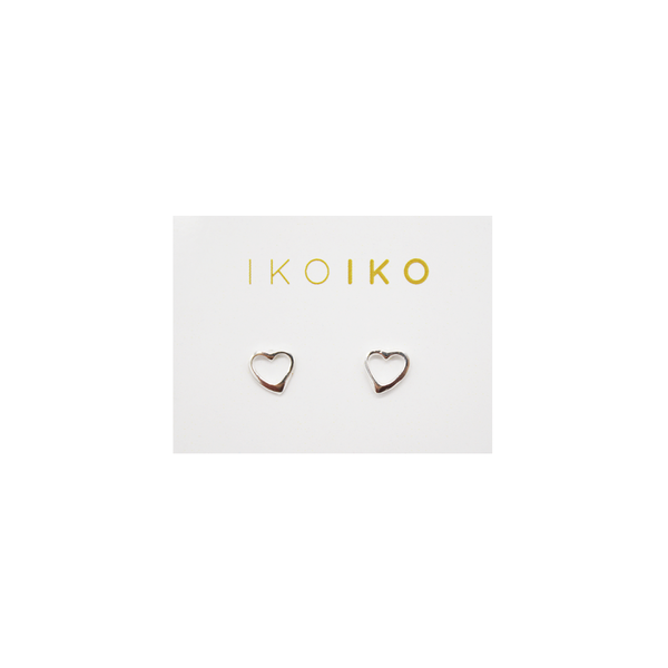 Iko Iko Studs Hollow Heart Silver