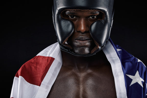American male boxer with USA flag