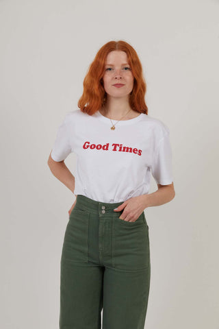 Good Times - Workwear Print Tee - White - LARGE ONLY