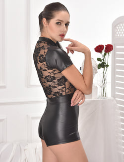 Women Black Short Sleeve Zipper Lace and Faux Leather Romper