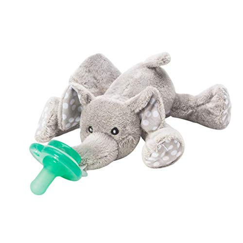 Nookums Paci-Plushies Elephant Buddies - Pacifier Holder (Plush Toy Includes Detachable Pacifier, Use with Multiple Brand Name Pacifiers)
