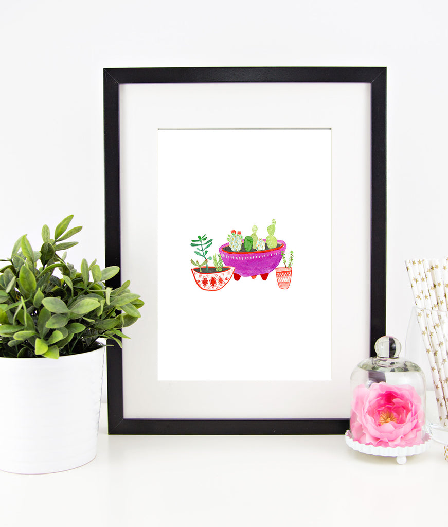 Hand Drawn Watercolor Cactus Instant Download Print