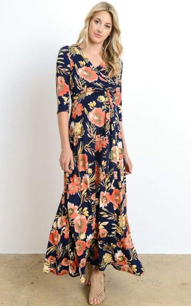 """Calabash"" Floral Wrap Maxi Dress - Summer Navy - DRESSES - Affordable Boutique Fashion"