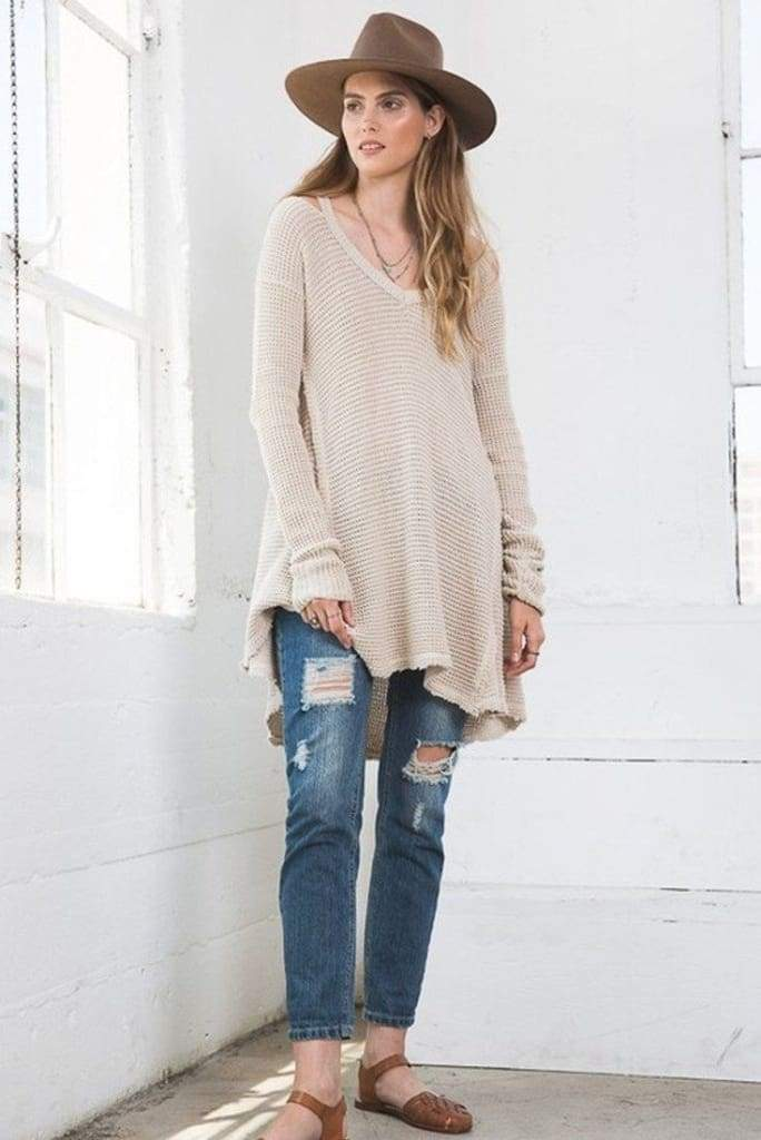 Cali Waffle Knit Sweater | Multiple Colors - SWEATER - Affordable Boutique Fashion
