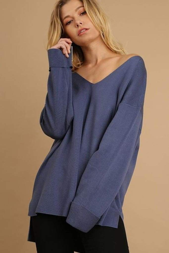 Donovan Pullover Sweater - Denim - Tops - Affordable Boutique Fashion