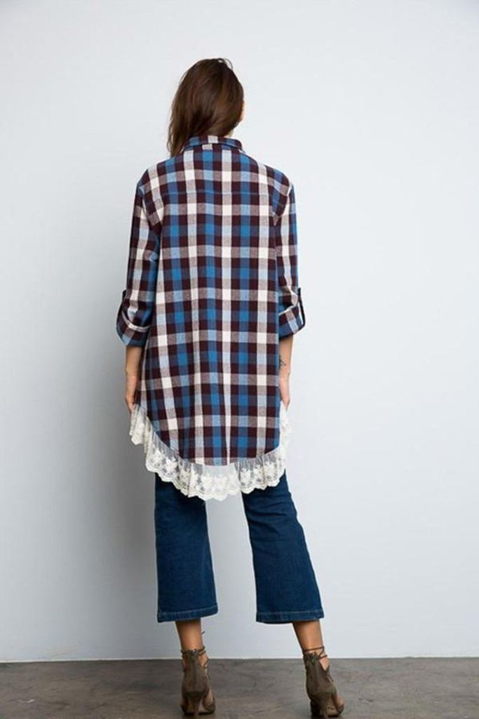 Happy Camper Plaid and Lace Flannel - TOPS - Affordable Boutique Fashion