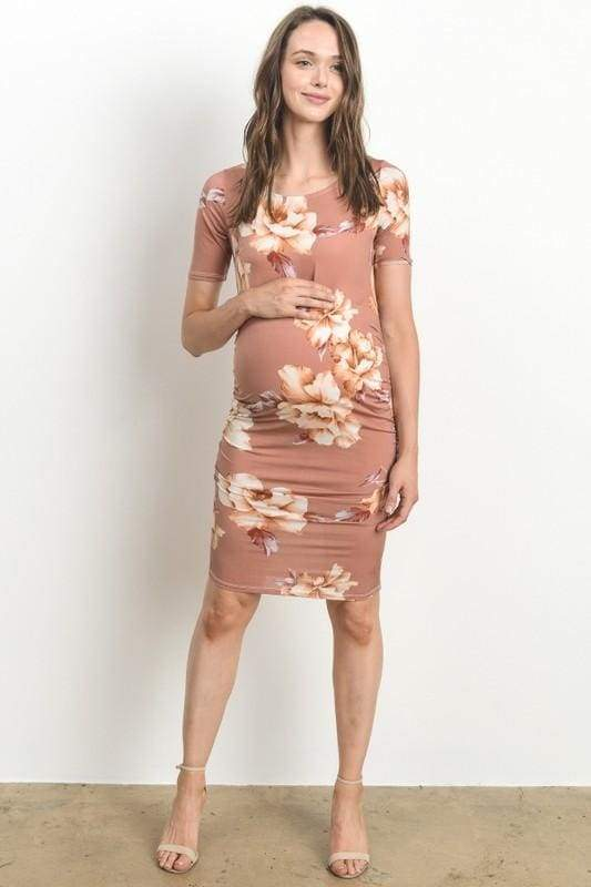 Inslee Ruched Floral Dress - Mauve - DRESSES - Affordable Boutique Fashion