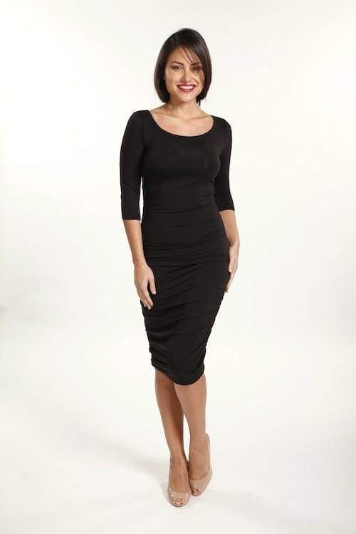 Isabella Ruched Midi Dress | Bump Friendly - Dresses - Affordable Boutique Fashion