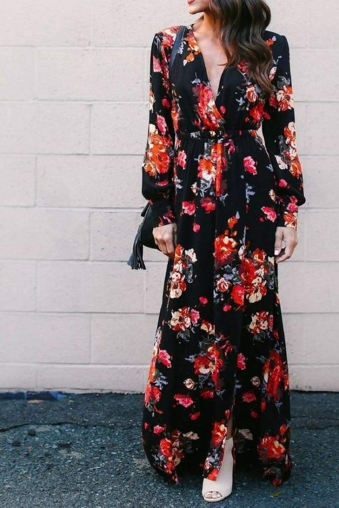 """Meesh"" Solstice Black Floral Wrap Maxi Dress - DRESSES - Affordable Boutique Fashion"
