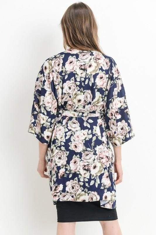 Navy Floral Delivery/Nursing Robe - DRESSES - Affordable Boutique Fashion