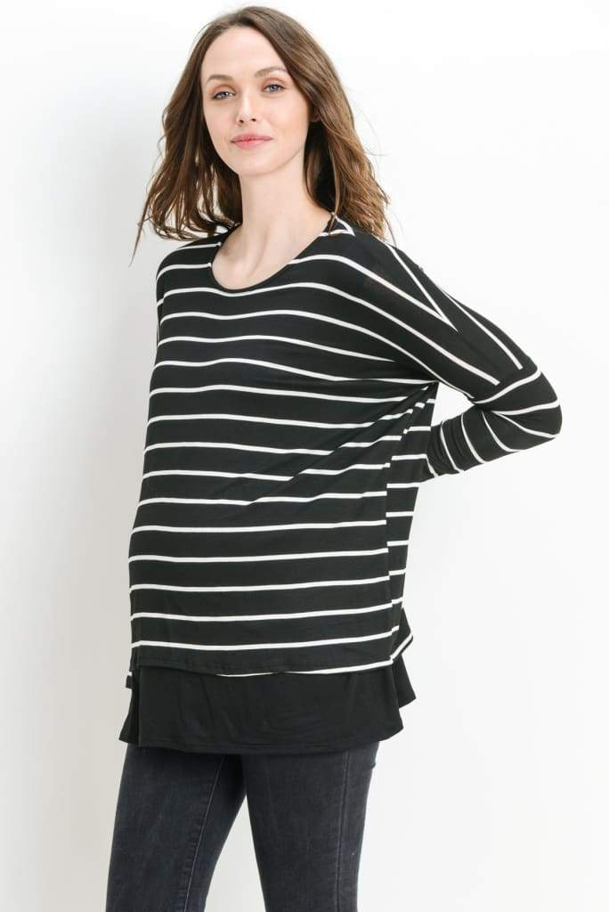 Salt Lake Maternity/Nursing Tunic | Black - Tops - Affordable Boutique Fashion