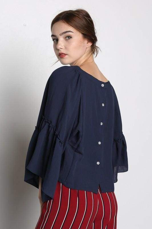Sienna Button Back Blouse - Tops - Affordable Boutique Fashion