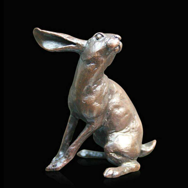 Small Hare Listening 832 solid bronze sculpture