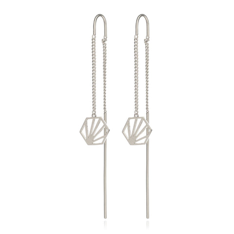 Rachel Jackson Silver Hexagon Threader Earrings