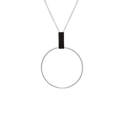Louise Kragh - Louise Kragh Silver Loop Necklace with Black Porcelain - Designer Necklaces - Silverado